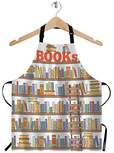 WONDERTIFY Books Apron,Doodle Books Shelves Collection with Books and Ladder Library Bib Apron with Adjustable Neck for Men Women,Suitable for Home Kitchen Cooking Waitress Chef Grill Bistro Apron