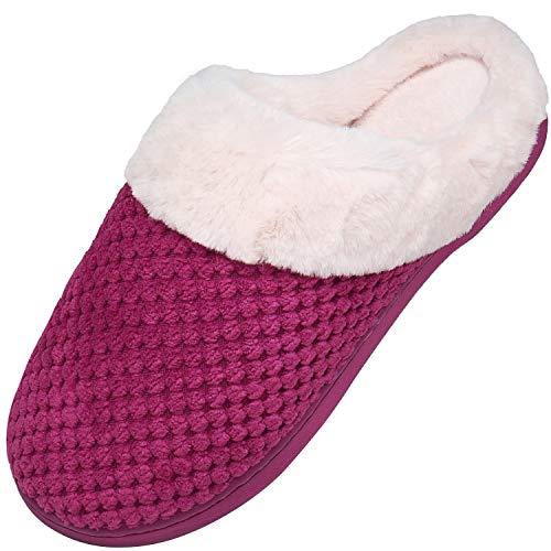 Memory Foam Hausschuhe Damen Winter Plüsch Pantoffeln Frauen Wärme Weiche Home rutschfeste Slippers mit Fell Rot-A Gr.42/43 EU (290mm)