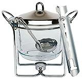 Feuerzangenbowle Set, Zuckerzange, Feuerzange, Punschgefäß, Glasschale, Edelstahldeckel, Stövchen, Schöpfkelle, für ca. 4 Liter
