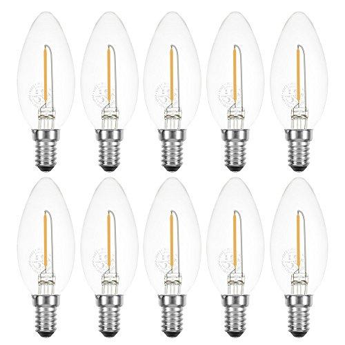 LED Filament Kerze 1W fast 15W E14 klar 100lm Retro extra warmweiß 2200K (10 Stück)