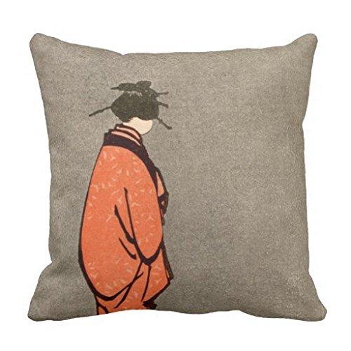 Moderne Deko Kissen Bezug Leinwand Kopfkissen Schutzhülle für Sofa Square Vintage japanische Kimono Frau Orange aussehende Away Couch Kissenbezug Fall 45,7x 45,7cm