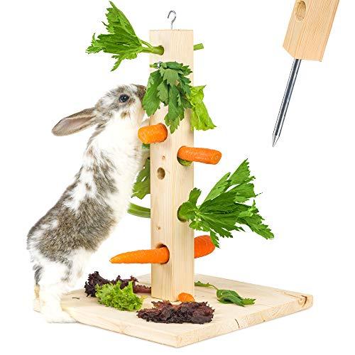 Nagergaleria Futterbaum Kaninchen Meerschweinchen mit Bodenplatte aus Holz und Erdspieß fürs Freigehege Hasen