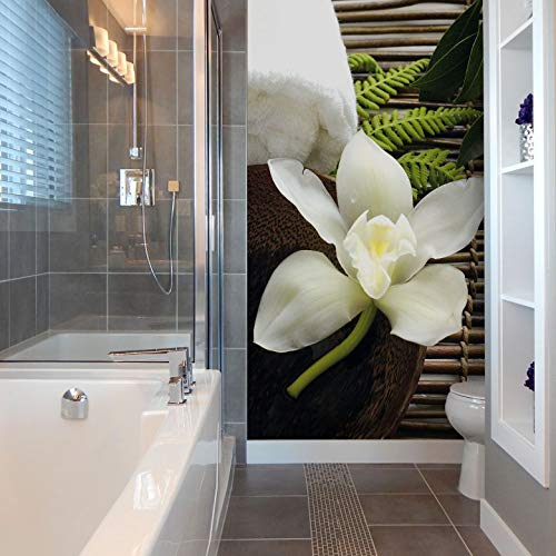Fototapete Wellness Orchidee Bad Entspannung Relaxen Blume Blüte Wall-Art 144x260 cm