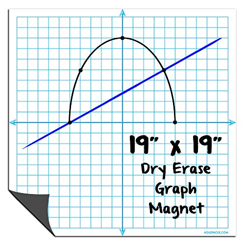 """Magnetic Dry Erase Graph X-Y Coordinate Grid Whiteboard Sheet by AgilePacks 19"""" x 19"""" for Classrooms, Teachers, Math, Graphing Plus Magnetic Cleaning Cloth"""