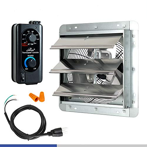 iLIVING 12' Shutter Exhaust Fan with Thermospeed(TM) controller, 65W, 960 CFM, Silver (ILG8SF12V-ST)