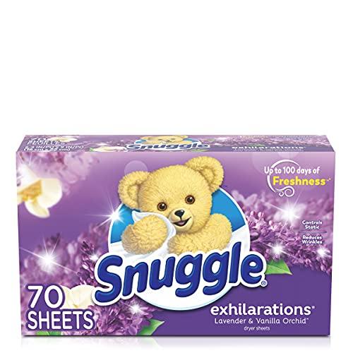 Snuggle Exhilarations - Hojas secadoras suavizantes, lavanda y vainilla orquídea, 70 unidades