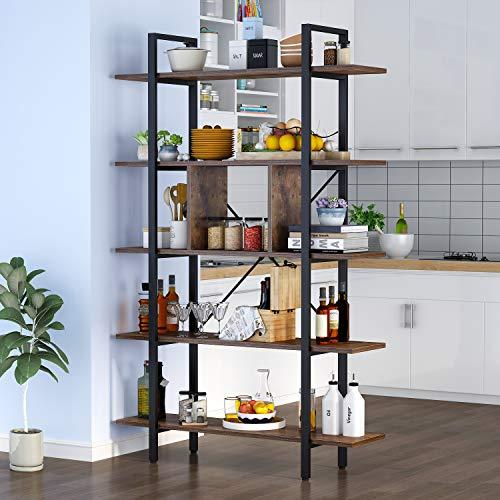 Tribesigns Bücherregal 5 Ebenen Industrie Vintage Regal,größer Regal für Wohnzimmer, als pflanzenregal,küchenregal