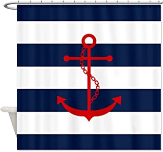 YEHO Art Painting Red Anchor On Blue Stripes Fabric Shower Curtain Super Soft -Bath Curtain Great For Friends-Birthday Gift 72X72 inches