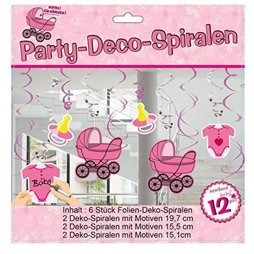 6 stuks UDO Schmidt Party spiraal voor de geboorte roze meisje slinger feest baby