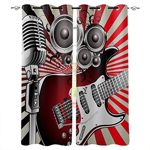 FTCAKET Visillos Rock Cortinas Habitacion micrófono Guitarra 3D Impreso Patrón Cortina Decoradas Dormitorio Sala 2 Paneles con Ollaos con Argollas Proteccion Intimidad 117x137 cm /46x54 Inch