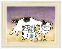 猫家族カートゥーン油彩絵画インテリア保育園壁アートパネル装飾かわいい猫パターンキャンバスアートパネル版画子猫動物ポスター北欧子供部屋装飾玄関リビングと寝室の飾りに最高インテリアリビングルームの装飾絵画40x60cmいいえフレーム