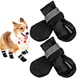 deenkk Dog Boots Shoes for Large Breed Dogs with Reflective Velcro Rugged Anti-Slip Sole 4PCS