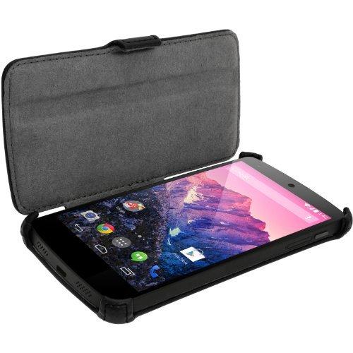 igadgitz U2717 Imitación de Cuero Flip Case Funda Carcasa y Protector de Pantalla Compatible con LG Google Nexus 5 - Negro