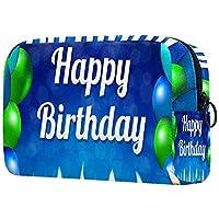 化粧ポーチオーガナイザーポータブルトラベルコスメティックケースお誕生日おめでとうバナー ストレージラージポケットジッパー
