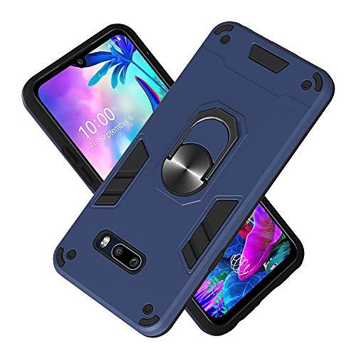 FAWUMAN Armure Coque LG G8X / LG V50S, Boîtier PC + TPU Double Layer Housse résistant aux Chocs avec Support à Anneau Rotatif à 360 degrés (Bleu Royal)
