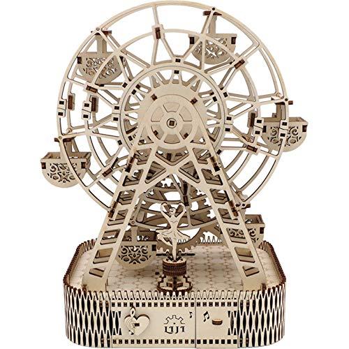 MICEROSHE Exquisita caja de música hecha a mano con diseño de rueda de la noria, caja de música de regalo (color: natural, tamaño: 28 x 23 x 16 cm)