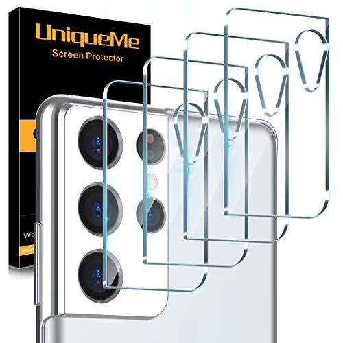 UniqueMe [4 Pezzi] Pellicola Fotocamera Compatibile con Samsung Galaxy S21 Ultra 6.8 Pollici Protezione Lente Pellicola Posteriore, Vetro Temperato 9H Ultra Resistente [Bubble Free]