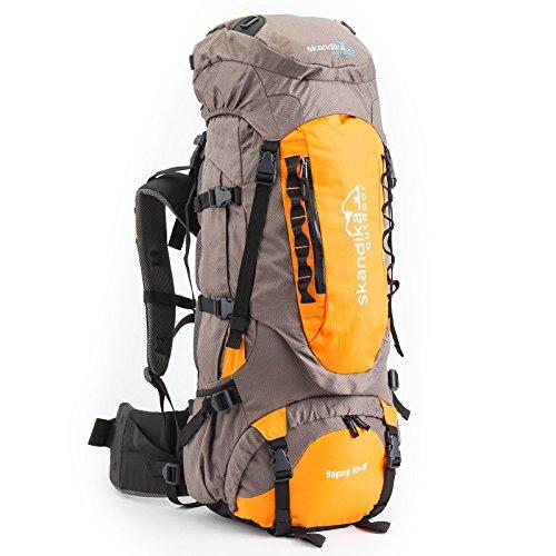 skandika Outdoor Sac à Dos de randonnée Bogong, 65 x 30 x 24 cm Gris Gris/Orange 65 x 30 x 24 cm, 65 Liter