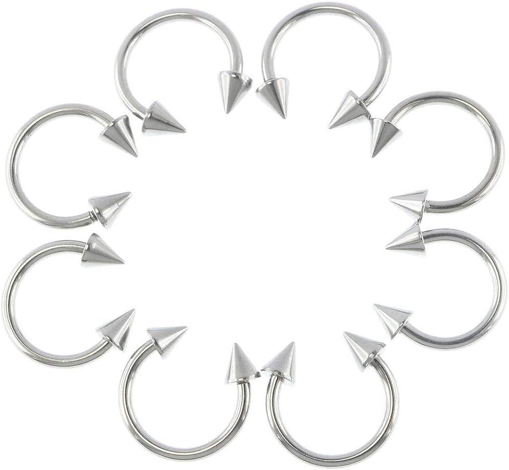Balala 8pcs 14G Stainless Steel Spike Horseshoe Nose Septum Ring Snake Smiley Eyes Lip Nipple Cartilage Piercing