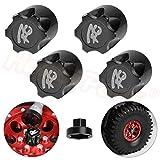 Hobbypark 4PCS Aluminum RC Car Wheel Rim Center Cap Adapter M4 Nut for 1/10 RC Crawler Traxxas TRX4 Axial SCX10 90046 D90 Redcat Gen7 (Black)