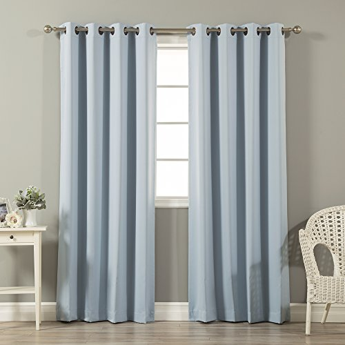 """Best Home Fashion Premium Thermal Insulated Blackout Curtains - Antique Bronze Grommet Top - Sky Blue - 52"""" W x 108"""" L - Tie Backs Included (Set of 2 Panels)"""