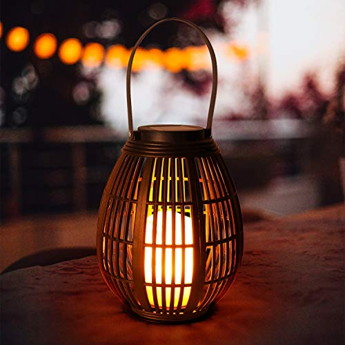 Solarlaterne Kerzen GolWof Solar Laterne Aussen mit LED Kerze Hängend LED Solar Laterne Rattan Garten Wasserdicht für Porch Lawn Courtyard Walkway Auffahrt