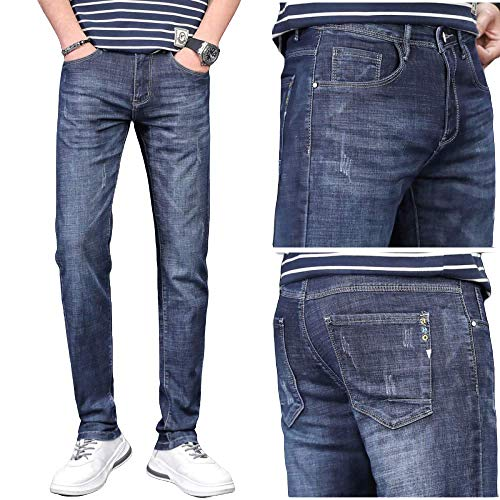 brandless Men's Pants Jeans Summer Stretch Slim Feet Casual Thin Section Solid Color