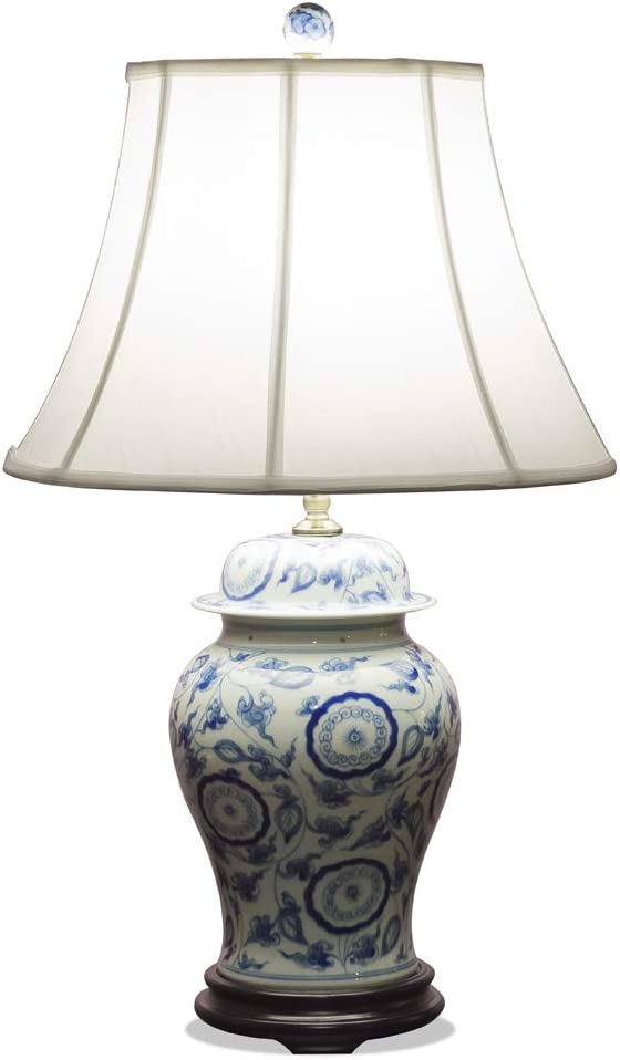 Over item handling ChinaFurnitureOnline Porcelain Asian Lamp with Shade and Brand Cheap Sale Venue Blue W