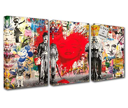 Graffiti Street Art Banksy Canvas Wall Art for Living Room Decor 3 Pieces Love is the Answer Einstein Picture Print Pop Art Kitchen Wall Decor Abstract Artwork Home Decor Room Wall Picture 60x28 Inch