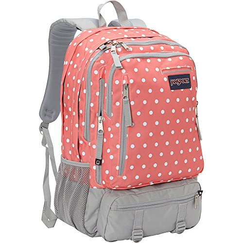 JanSport Envoy School Backpack (Coral Sparkle / White Dots)