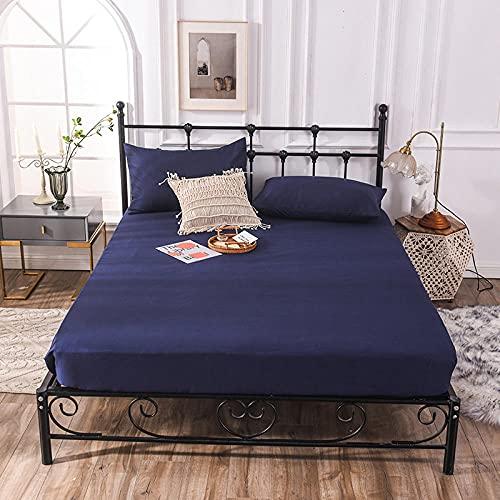 CYYyang Funda colchón Microfibra, elástica y Ajustable, Sábana de Hotel de Color Puro Simple-Azul Marino_180cm × 200cm
