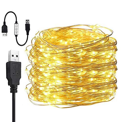 Yakamoz LED 10M USB Guirlandes Lumineuses 8 Mode d'Éclairage 100 LEDs Comme Etoilées Lumières LED Pour Noël Mariage Décoration d'Extérieur et Intérieure Blanc Chaud Lumière Avec Contrôleur