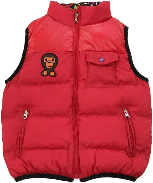 Boys Girls Down Vest Winter Warm Kids Vests Printing Zipper Outerwear Sleeveless Jackets High Neck Gilets (Color : Red, Size : XX-Large)