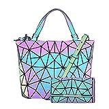HotOne Geometric Purse Holographic Purse and Handbag Color Changes Luminous Purse and Wallet Set for Women (Luminous Medium + Wallet Set)