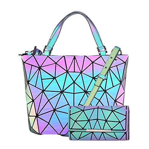 Hot One Handtasche Damen Geometrische Reflektierende Umhängetasche Geldbeutel Damen Taschen Set Rucksack (5# Leuchtend Mittel+Knopf Brieftasche)