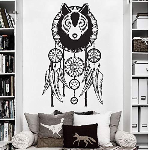 Lobo atrapasueños pegatinas de pared lobo arte tatuajes de pared decoración del hogar moderno extraíble atrapasueños vinilo mural de pared A2 42x72 cm