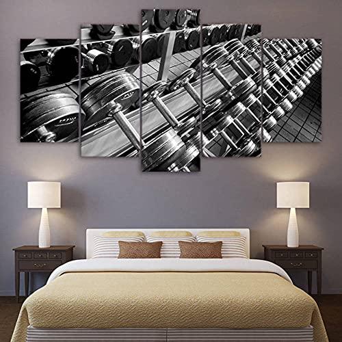 Impresiones sobre Lienzo Gym 5 Cuadros En Lienzo Modernos Salón Decoracion Murales Pared Lona XXL Grande Hogar Dormitorios Arte Pared HD Impresión Foto
