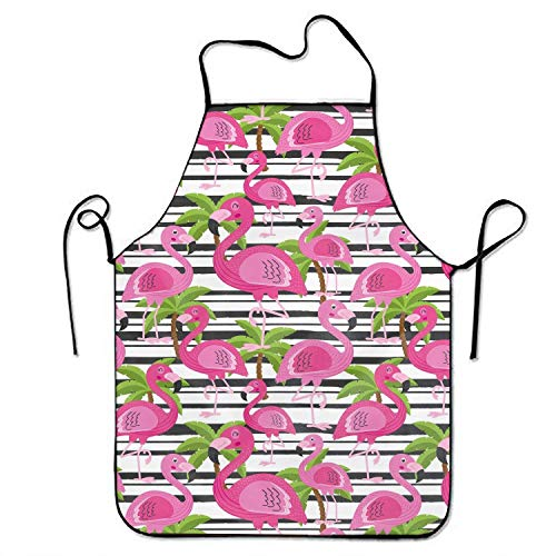 Schürze/Kochschürze/Küchenschürze/Grillschürze/Wasserdicht Latzschürze Novelty Flamingo and Tree Palm Print Funny Kitchen Apron