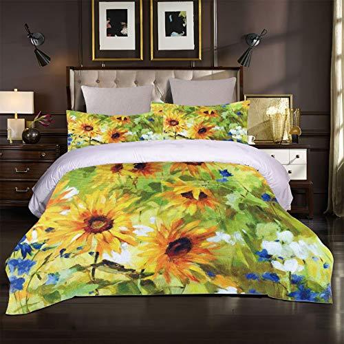 Impresión creativa en una funda nórdica de gran tamaño. Flores de girasol acuarela Juego de ropa de cama con impresión 3D Poliéster Textiles para el hogar Juegos de fundas nórdicas Twin Queen King Siz
