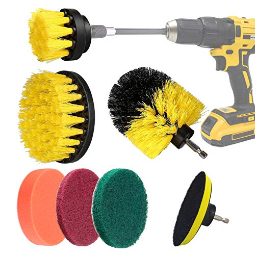 Yumzeco Drill Brushes for Cleaning 7 Pcs Drill Brush Attachment Tile Scrubber Cleaning Brush Set for Electric Drill Cleaning Bathroom,Tile,Grout,Floor,Carpet,Car,Scrub,Kitchen,Grill,Turbo