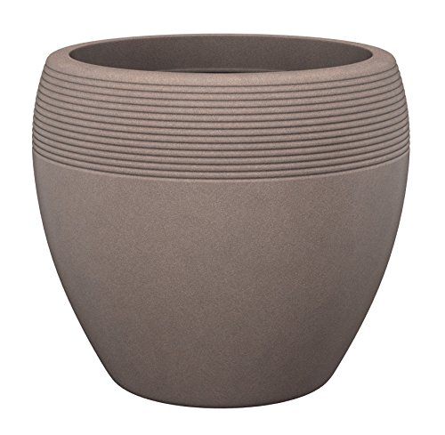 Scheurich Lineo, Pflanzgefäß aus Kunststoff, Taupe-Granit, 30 cm Durchmesser, 24,1 cm hoch, 11 l Vol.