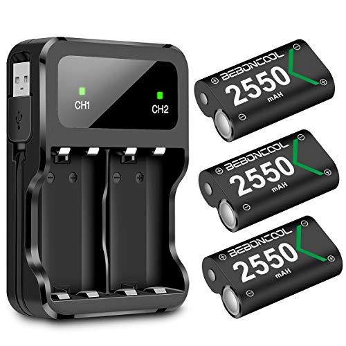 BEBONCOOL Paquete de 3 baterías recargables para mando Xbox One de 2550 mAh y kit de accesorios de cargador, batería Xbox para Xbox One/One X/One Elite/One S