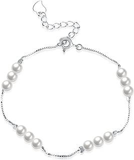 SOMUNS 925 Silver Bracelet Bracelet,Fashion Simple Pearl Bracelet Jewelry for Women,Girlfriends,Mother,Sister