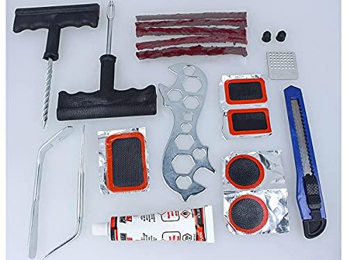 CARALL Kit de reparación de neumáticos para moto o coche y bicicleta, herramientas de reparación de neumáticos para reparación de pinchazos