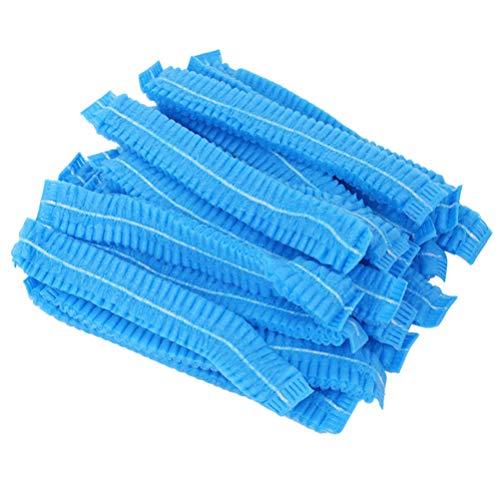 PRETYZOOM 200 Pcs Chapeau Chirurgical Jetable Non Tissé Gommage Cap Cheveux Tête Couverture Net Médecin Infirmière Casquette Pour Femmes Hommes Service Médical Maquillage (Bleu)