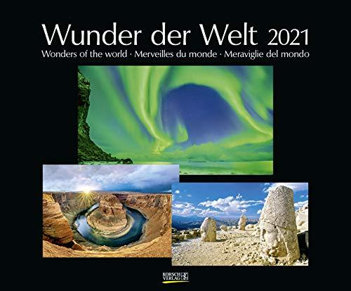 Wunder der Welt 2021: Großer Wandkalender über die Landschaft und Wahrzeichen der Erde. PhotoArt Kalender mit edlem schwarzem Hintergrund. 55 x 45,5 cm