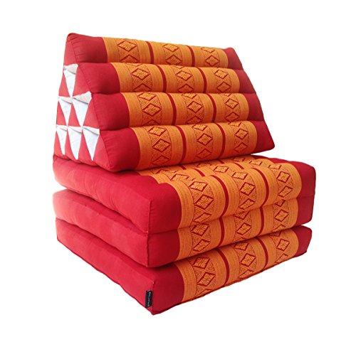 Collumino, materasso da meditazione tradizionale thailandese Kapok a 3 strati, con cuscino reclinabile triangolare in stile orientale, per yoga, massaggi o relax Arancione, rosso.