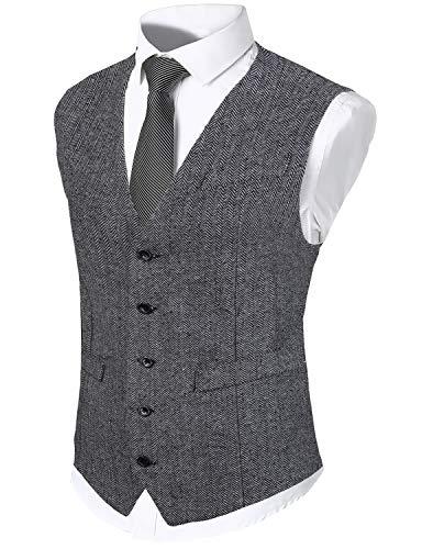 WHATLEES Chaleco estrecho de tweed para hombre con dos filas de botones. gris S