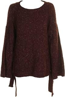 Women's Mélange Side Tie Crewneck Sweater Red Size S