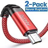 AINOPE - Cable Micro USB (2 Unidades, 2 m, Cable de Carga para Samsung Galaxy S7, Cable de Carga rápida para Samsung S7/ S6 / J7/ Note 5, Huawei, Wiko, Nexus, Motorola, Nokia, Echo Dot), Color Rojo